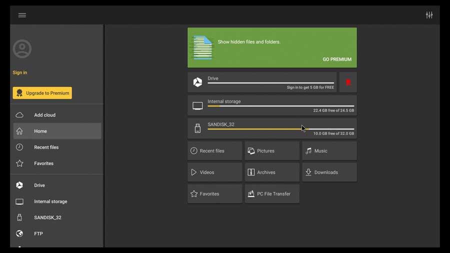 MobiSystems File Commander dark theme