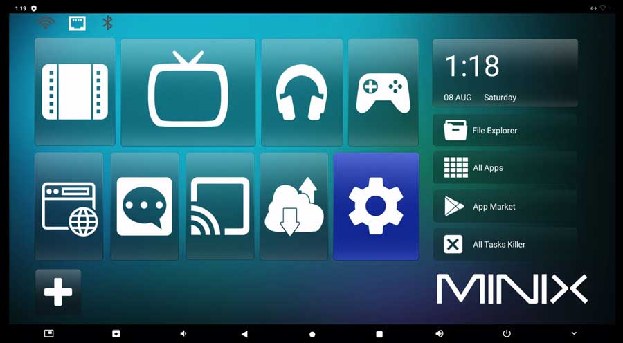 The Settings icon on the home screen