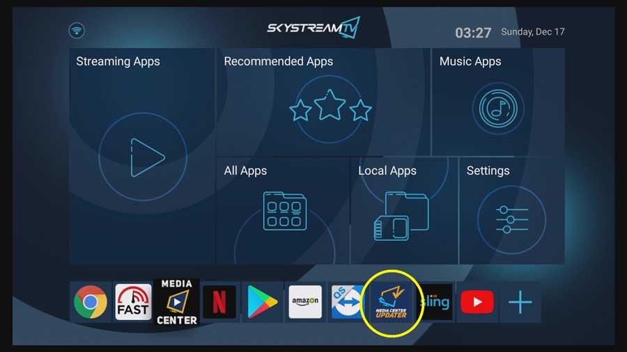 Updater App on SkyStream Two