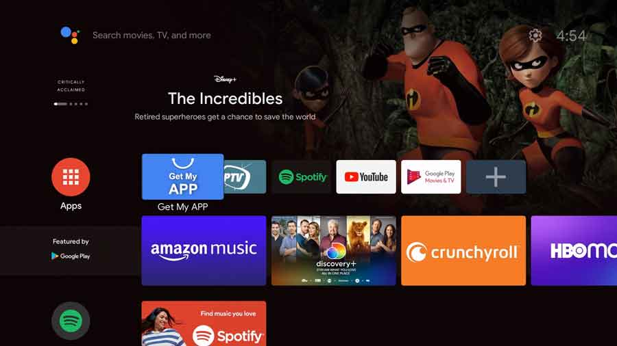 MeCool KD1 Android TV home screen