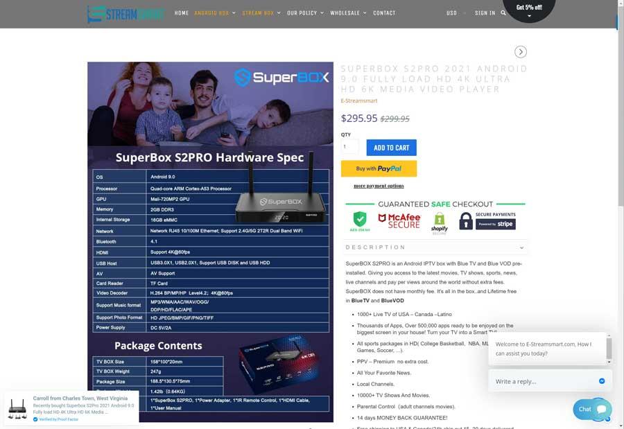 e-StreamSmart website (4/15/2021)