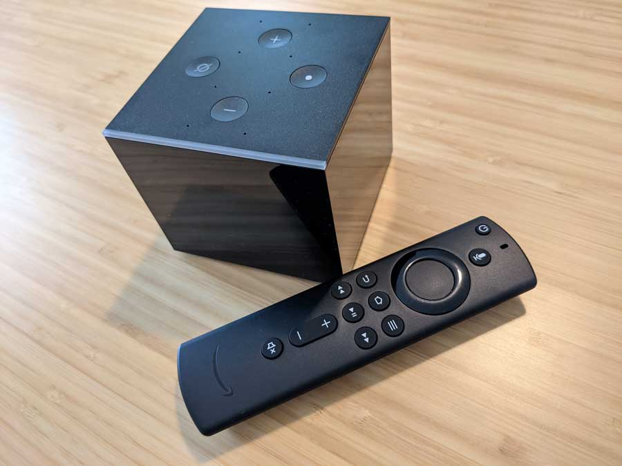 Amazon Fire TV Cube and Alexa remote control