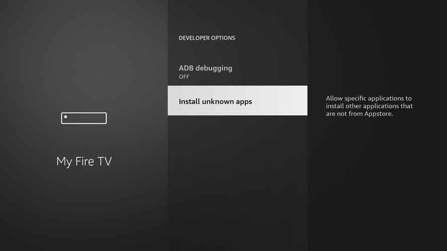 New FireStick UI: Click Install Unknown Apps