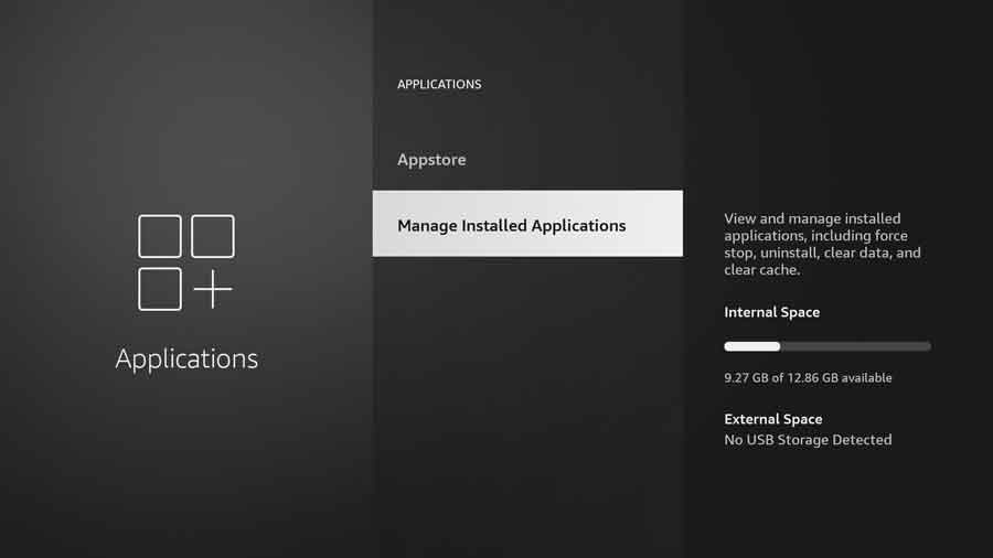 Manage Installed Applications menu