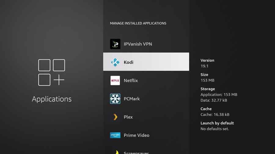 Kodi app summary screen on the Manage Installed Applications menu