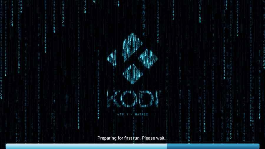 Kodi 'Preparing for First Run' splash screen