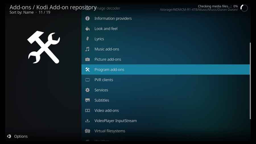 Program add-ons section of the official Kodi repository