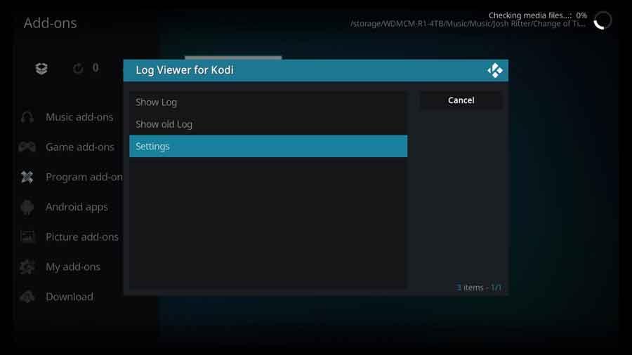Log Viewer for Kodi - main menu