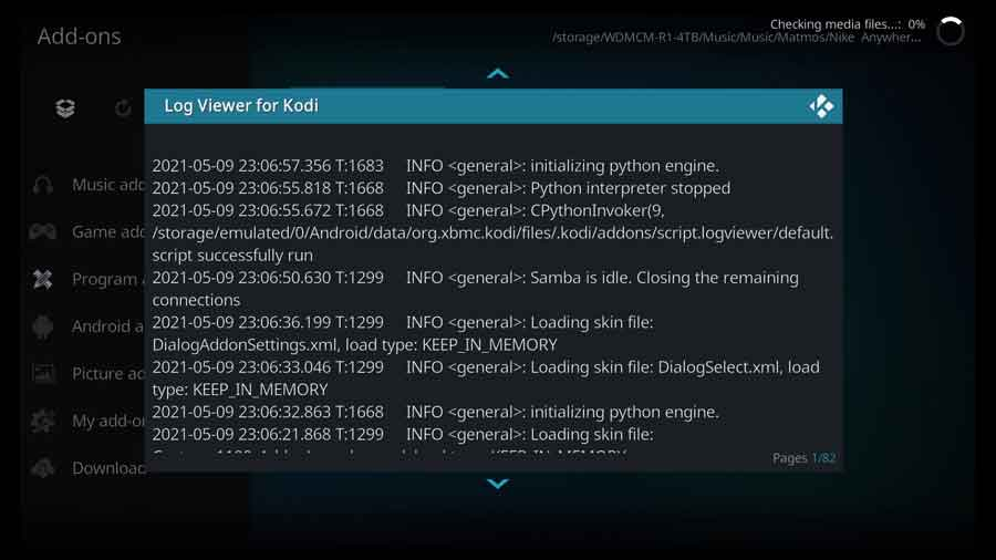 Log Viewer for Kodi: Show current log file