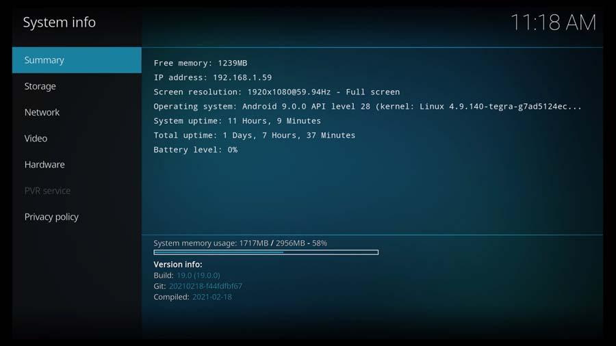 Kodi System Information screen