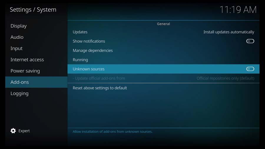 Kodi System \ Settings menu