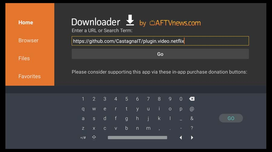 Use the Downloader App to navigate to CastagnaIT's GitHub page
