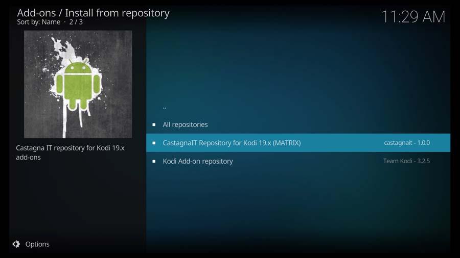 Select CastagnaIT Repository for Kodi 19.x (MATRIX)