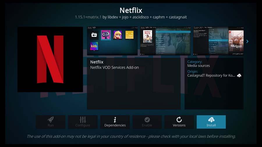 Install Netflix Kodi addon