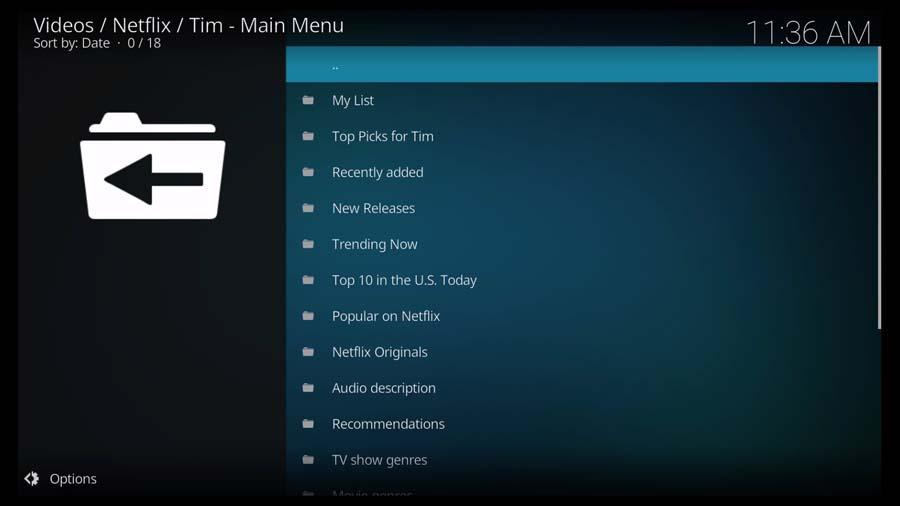 Netflix menu on the Kodi addon