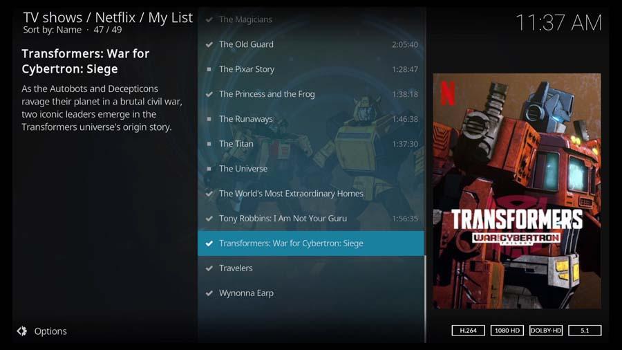 Transformers: War for Cybertron on the Kodi Netflix addon