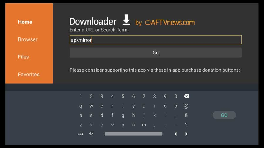 Searching for APKMirror using the Downloader App