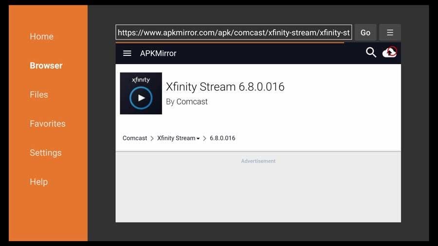 Xfinity Stream APK info page on APKMirror