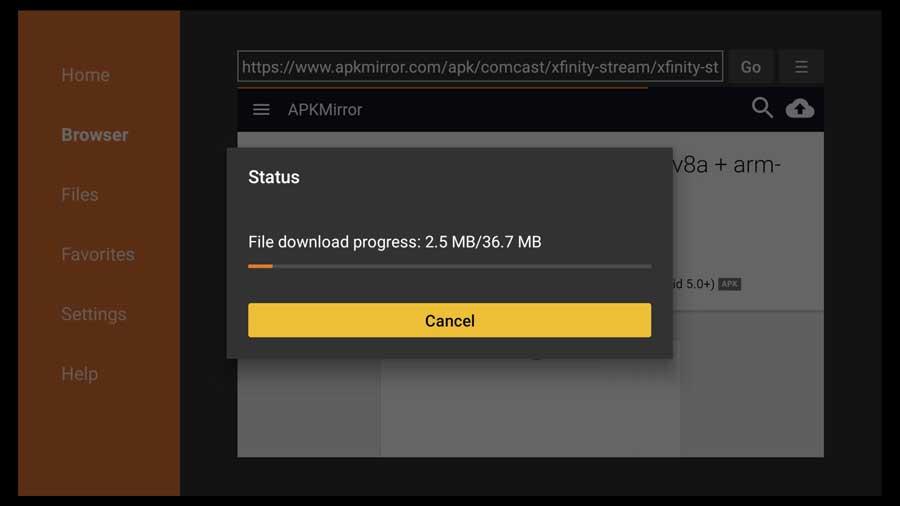 Downloading the Xfinity Stream APK file.