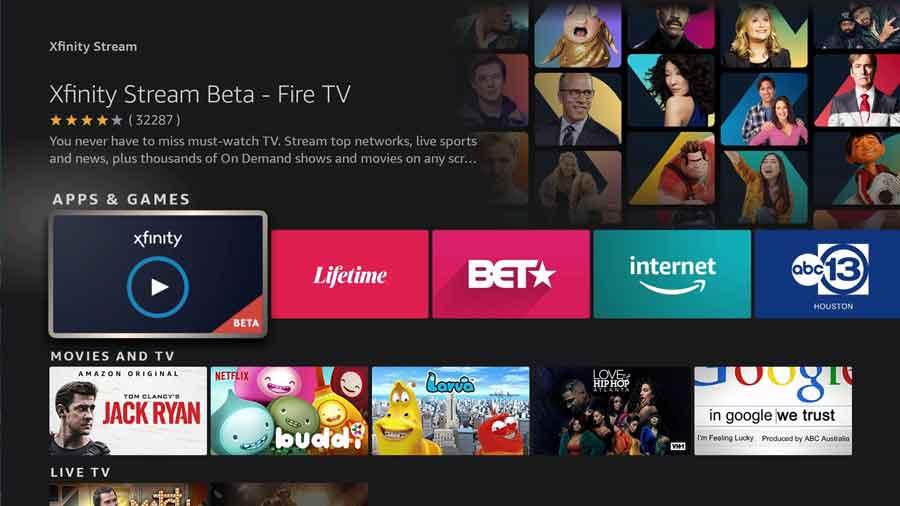 Click on the Xfinity Stream FireTV app