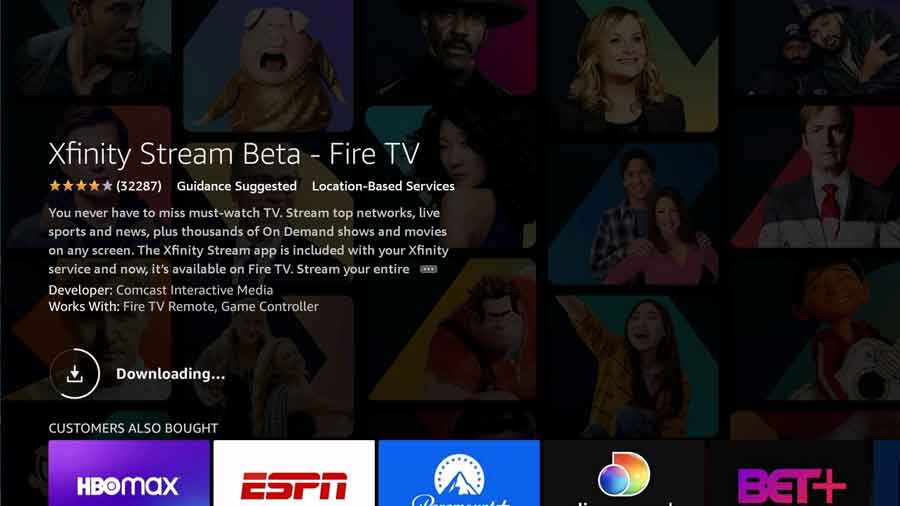 Downloading the Xfinity Stream FireTV app