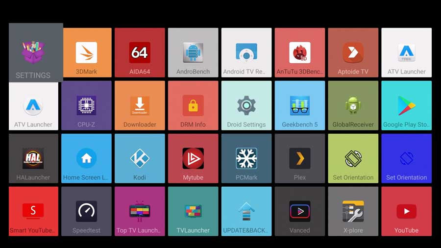 SimpleBox Android TV launcher: all apps tab