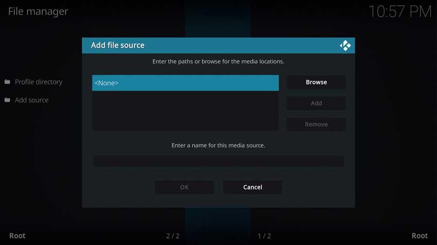 Kodi 19: Add File Source
