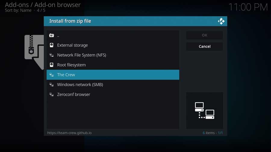 Installing The Crew repo from zip file on Kodi 19