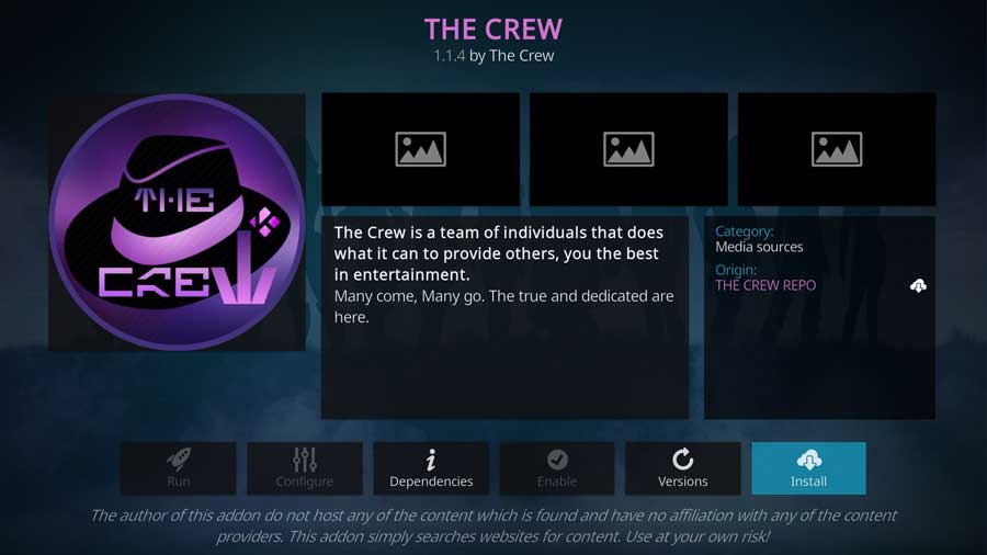 The Crew Video Add-on detail page on Kodi 19
