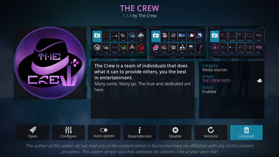 Uninstalling The Crew from the Addon detail page