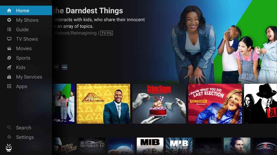 TiVo Stream app home screen
