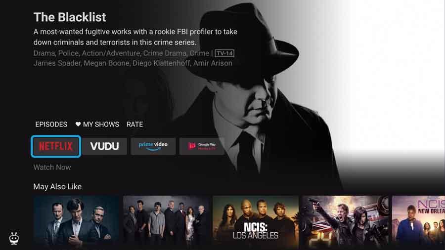 Choose streaming service on TiVo Stream app