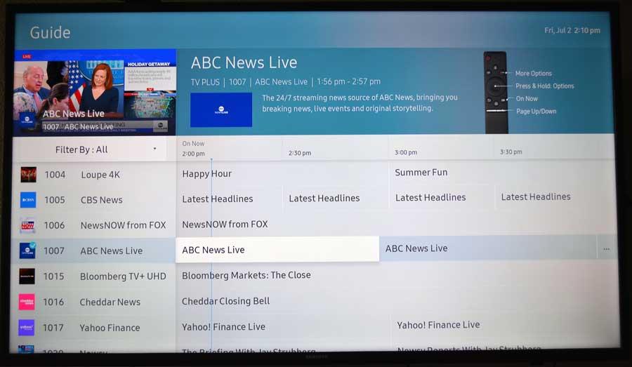 Live TV guide on Samsung Tizen TV