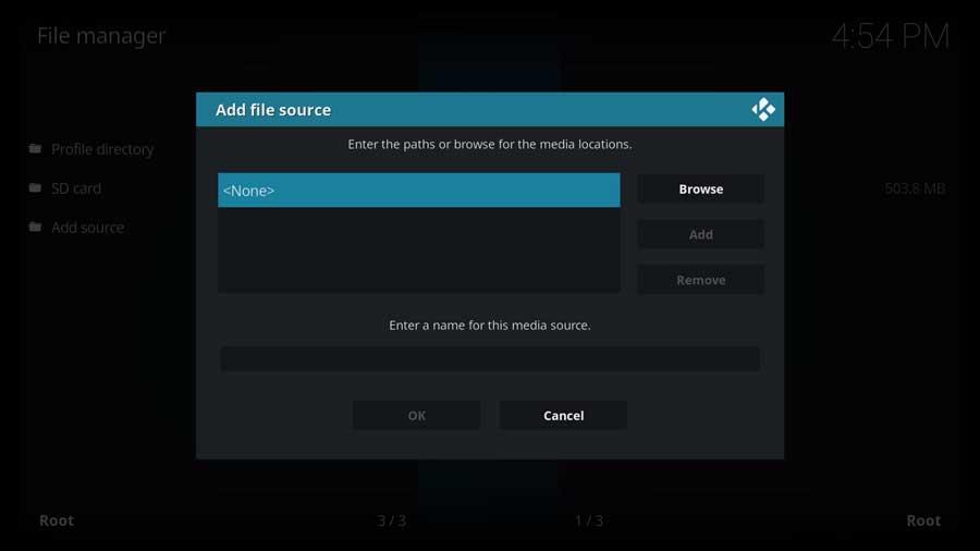 Kodi: add source menu