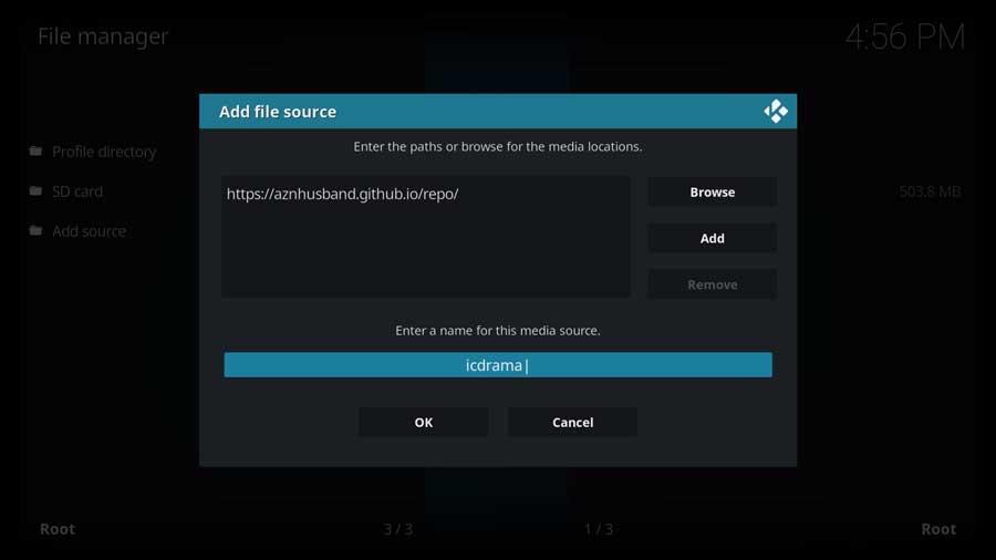 Kodi: adding aznhusband file source