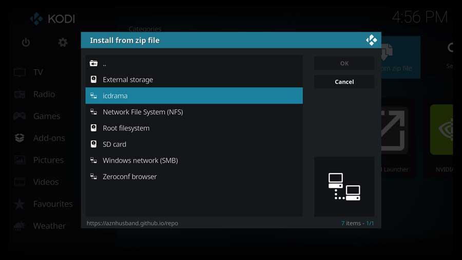 Kodi: install from zip file