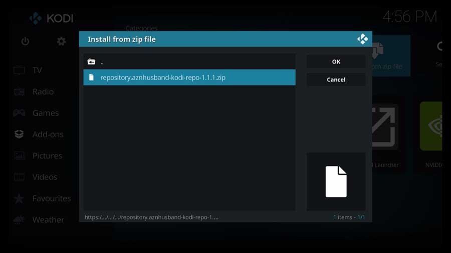 Kodi: select aznhusband zip file