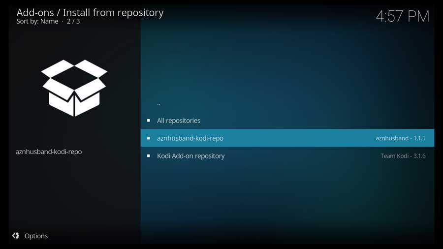 Kodi: select aznhusband repository