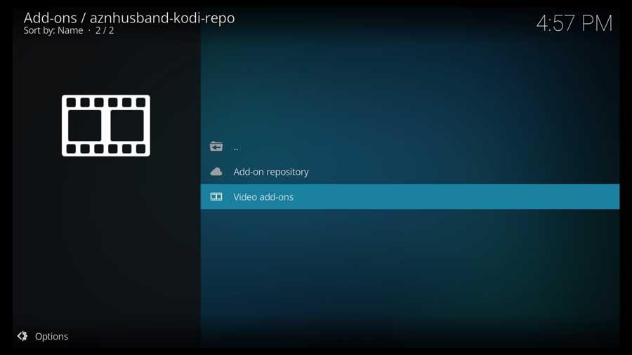 Kodi: select Video add ons