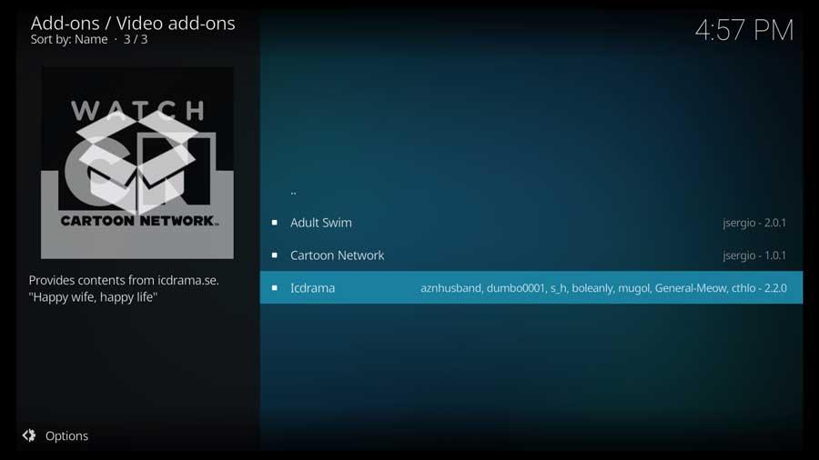 Kodi: Select IcDrama Kodi addon