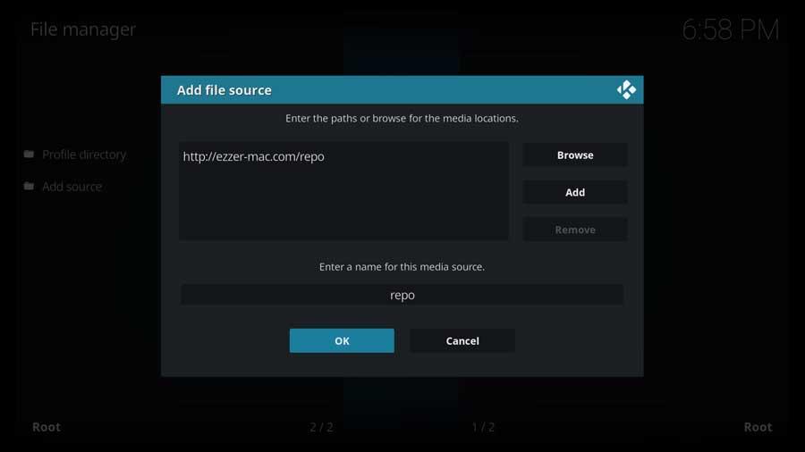 Add file source menu