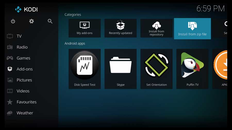 Kodi Addons menu: Install from zip file