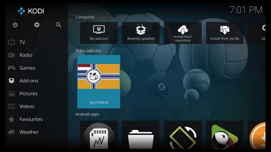 Addons menu with SportsDevil Kodi addon installed