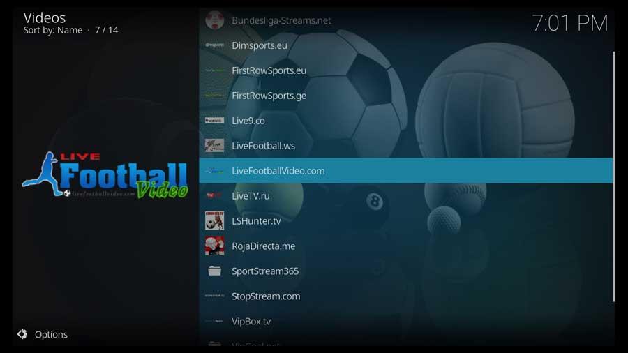 SportsDevil Kodi addon: live sports sources