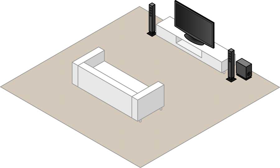 2.1 stereo speaker layout with two floorstanding speakers and a subwoofer
