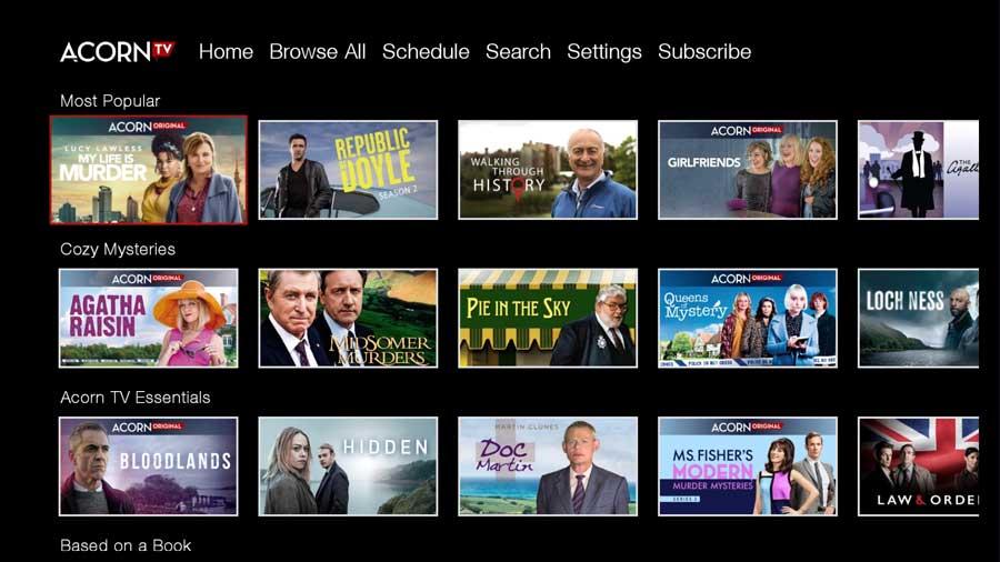 Acorn TV browse content
