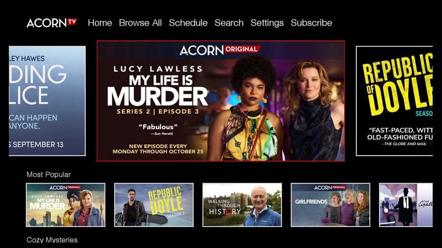 Acorn TV home screen
