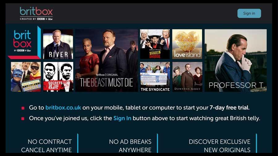 BritBox login screen