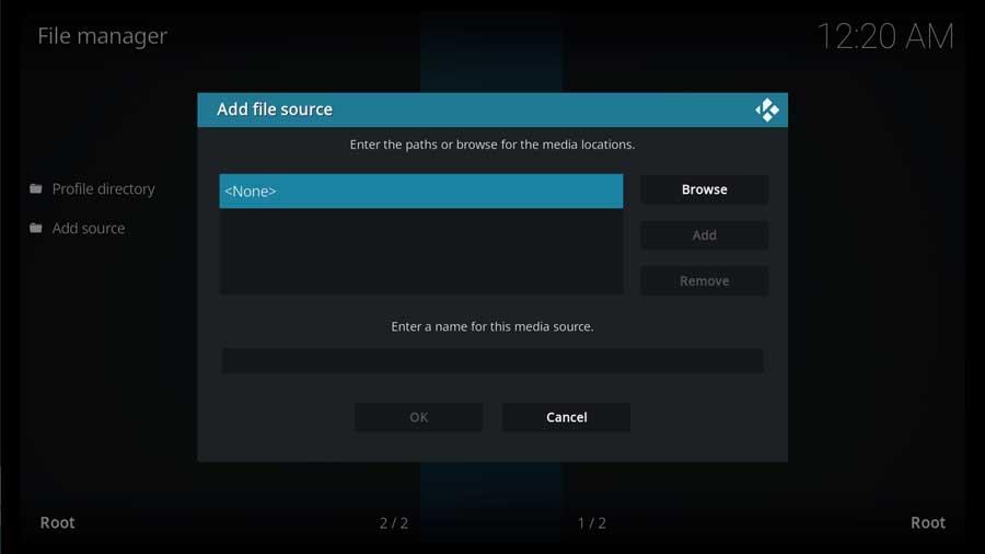 Add File Source menu box