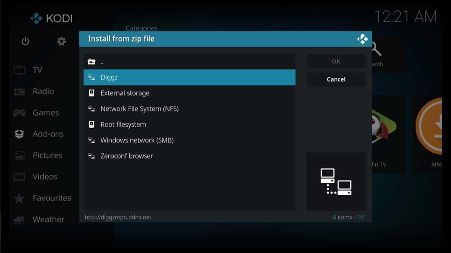 Select the Diggz custom file source
